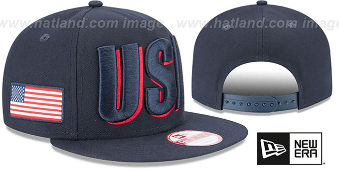 United States 'COUNTRY CHEER SNAPBACK' Navy Hat by New Era : pictured without stickers that these products are shipped with