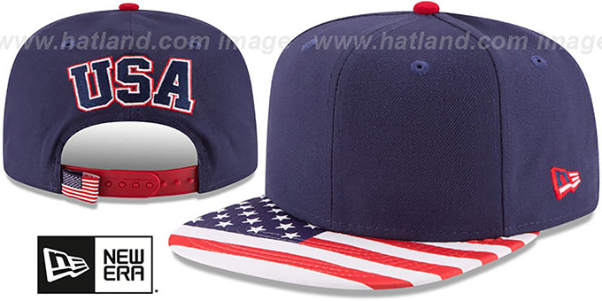 United States 'FLAG VIZE SNAPBACK' Navy Hat by New Era : pictured without stickers that these products are shipped with