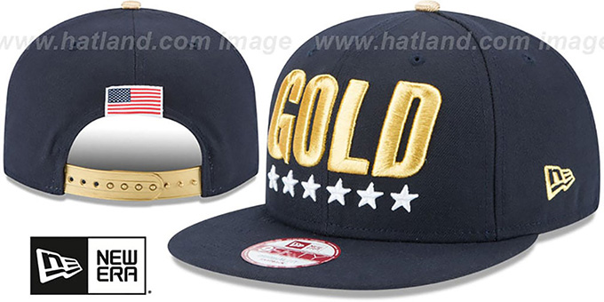 United States 'GOLD SNAPBACK' Navy Hat by New Era : pictured without stickers that these products are shipped with