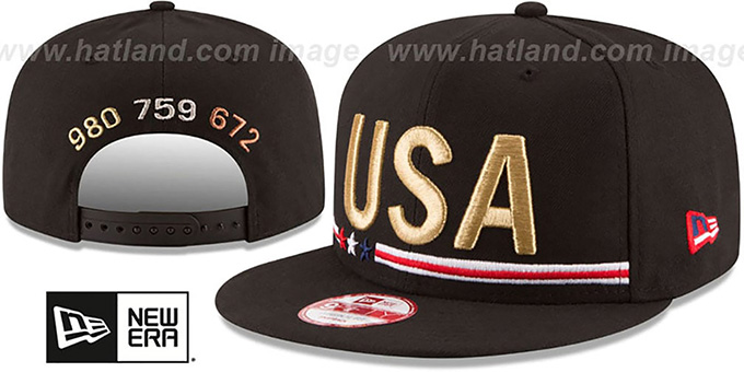 United States 'METAL COUNT SNAPBACK' Black Hat by New Era : pictured without stickers that these products are shipped with