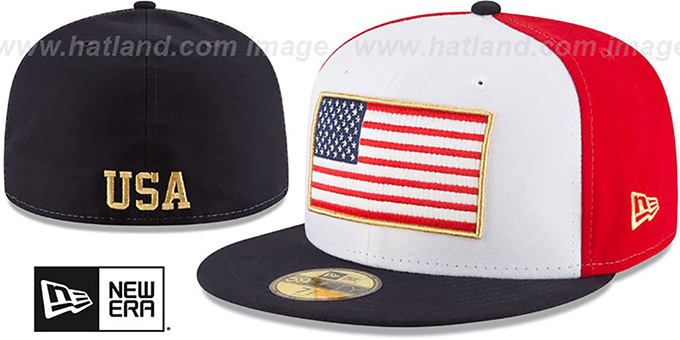 United States 'SPIRIT FLAG' White-Red-Navy Fitted Hat by New Era : pictured without stickers that these products are shipped with