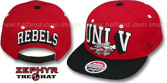 UNLV '2T BLOCKBUSTER SNAPBACK' Red-Black Hat by Zephyr : pictured without stickers that these products are shipped with