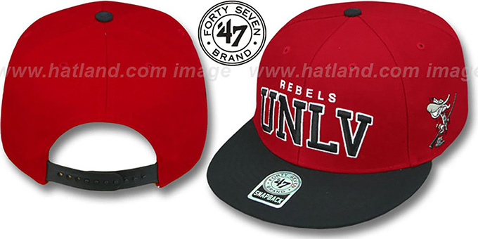 UNLV '2T BLOCKSHED SNAPBACK' Adjustable Hat by Twins 47 Brand : pictured without stickers that these products are shipped with