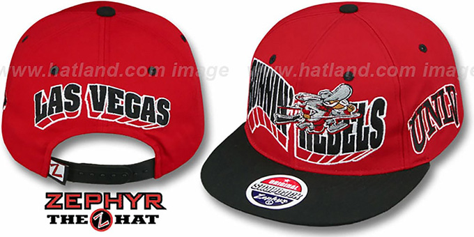 UNLV '2T FLASHBACK SNAPBACK' Red-Black Hat by Zephyr : pictured without stickers that these products are shipped with