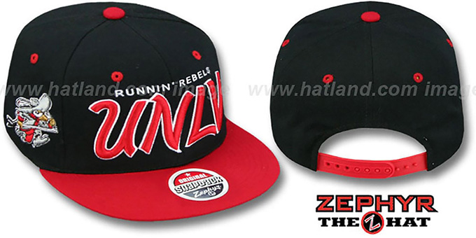 UNLV '2T HEADLINER SNAPBACK' Black-Red Hat by Zephyr : pictured without stickers that these products are shipped with