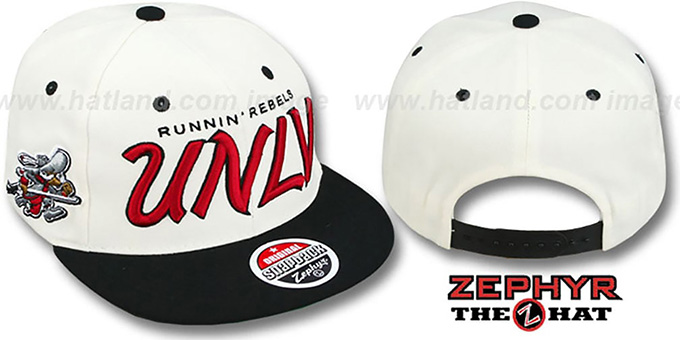 UNLV '2T HEADLINER SNAPBACK' White-Black Hat by Zephyr : pictured without stickers that these products are shipped with