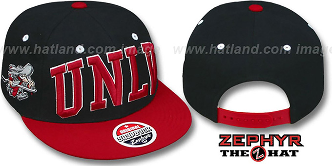 UNLV '2T SUPER-ARCH SNAPBACK' Black-Red Hat by Zephyr : pictured without stickers that these products are shipped with