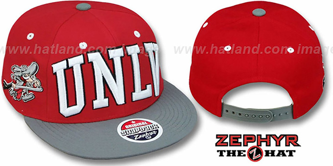 UNLV '2T SUPER-ARCH SNAPBACK' Red-Grey Adjustable Hat by Zephyr : pictured without stickers that these products are shipped with
