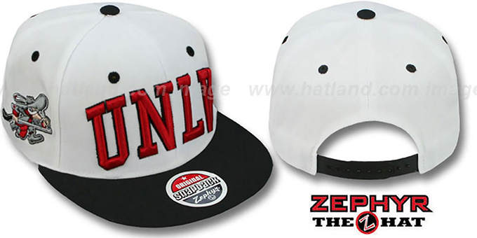 UNLV '2T SUPER-ARCH SNAPBACK' White-Black Adjustable Hat by Zephyr : pictured without stickers that these products are shipped with