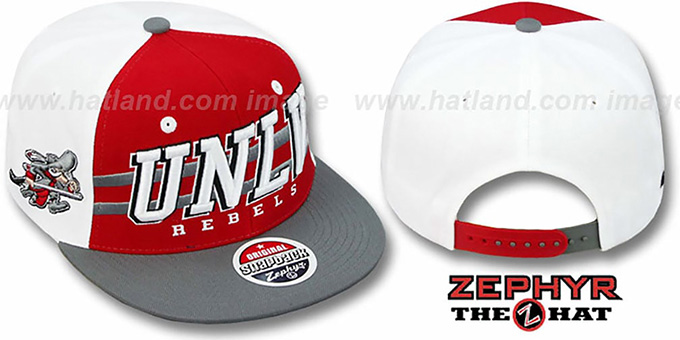 UNLV '2T SUPERSONIC SNAPBACK' Red-Grey Hat by Zephyr : pictured without stickers that these products are shipped with
