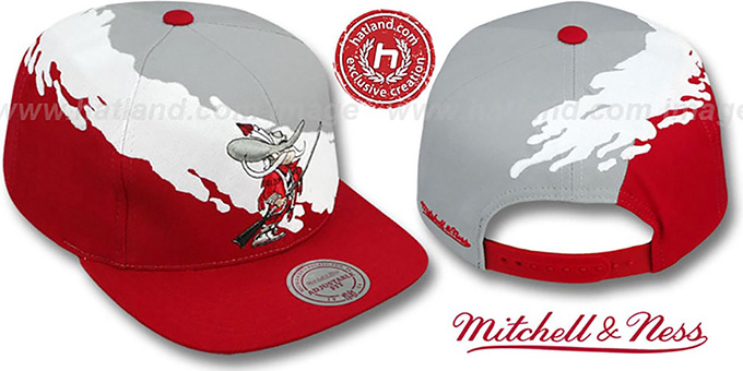 UNLV 'PAINTBRUSH SNAPBACK' Grey-White-Red Hat by Mitchell & Ness : pictured without stickers that these products are shipped with