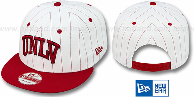 UNLV 'PINSTRIPE BITD SNAPBACK' White-Red Hat by New Era : pictured without stickers that these products are shipped with