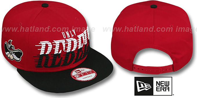 UNLV 'SAILTIP SNAPBACK' Red-Black Hat by New Era : pictured without stickers that these products are shipped with