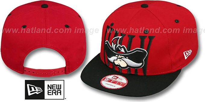 UNLV 'STEP-ABOVE SNAPBACK' Red-Black Hat by New Era : pictured without stickers that these products are shipped with
