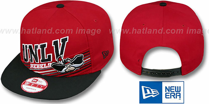 UNLV 'STILL ANGLIN SNAPBACK' Red-Black Hat by New Era : pictured without stickers that these products are shipped with