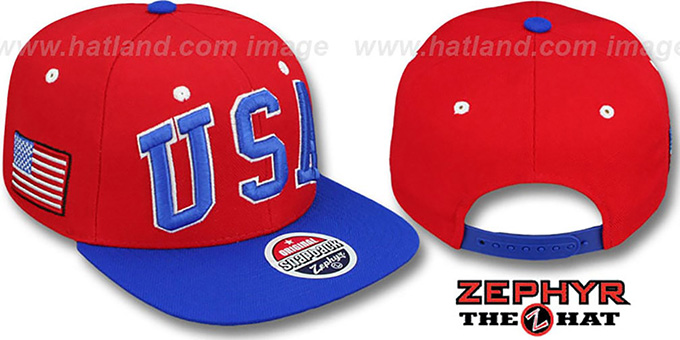 USA '2T SUPER-ARCH SNAPBACK' Red-Royal Adjustable Hat by Zephyr : pictured without stickers that these products are shipped with