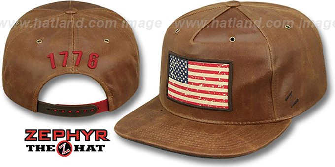 USA 'DYNASTY SNAPBACK' Brown Hat by Zephyr