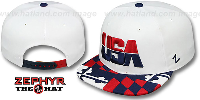 USA 'MARYLAND FLAG SNAPBACK' White Hat by Zephyr : pictured without stickers that these products are shipped with