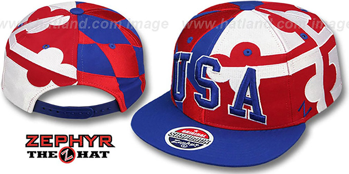 USA 'MARYLAND SUPER-FLAG ARCH SNAPBACK' Royal Hat by Zephyr : pictured without stickers that these products are shipped with