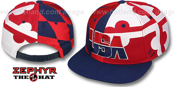 USA 'MARYLAND SUPER-FLAG SNAPBACK' Navy Hat by Zephyr : pictured without stickers that these products are shipped with