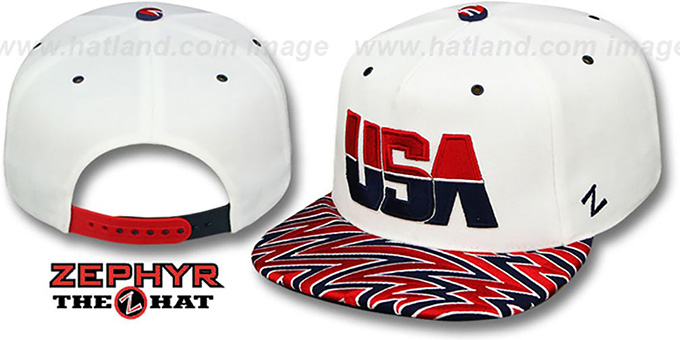 USA 'SHARKTOOTH SNAPBACK' White Hat by Zephyr
