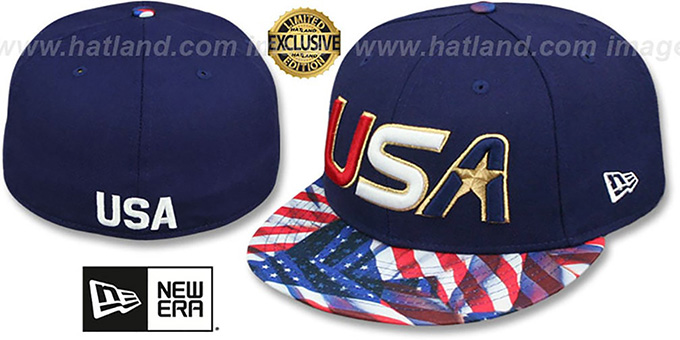 USA Slant 'WAVING-FLAG' Navy Fitted Hat by New Era : pictured without stickers that these products are shipped with