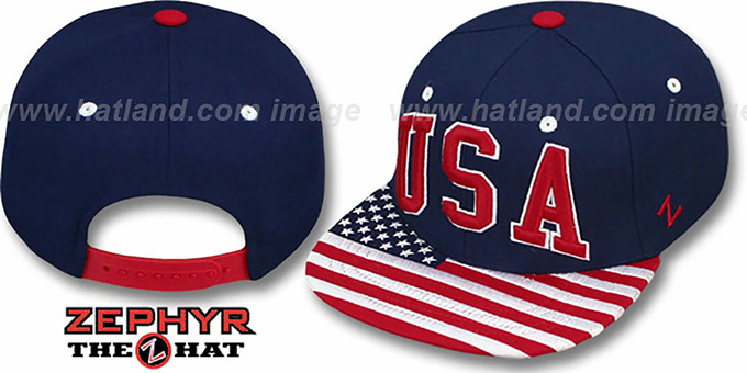 USA 'SUPERSTAR SNAPBACK' Navy Hat by Zephyr
