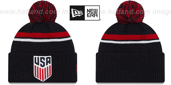 USA 'TEAM-STACKER' Navy Knit Beanie Hat by New Era