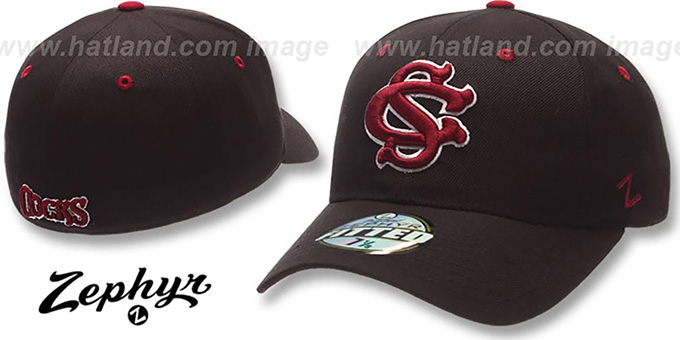 USC COCKS 'DH' Fitted Hat by ZEPHYR - black : pictured without stickers that these products are shipped with