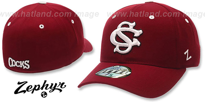 USC COCKS 'DH' Fitted Hat by ZEPHYR - burgundy : pictured without stickers that these products are shipped with