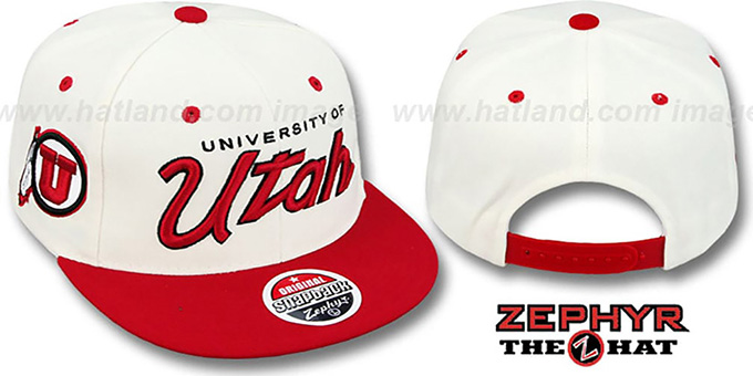 Utah '2T HEADLINER SNAPBACK' White-Red Hat by Zephyr : pictured without stickers that these products are shipped with