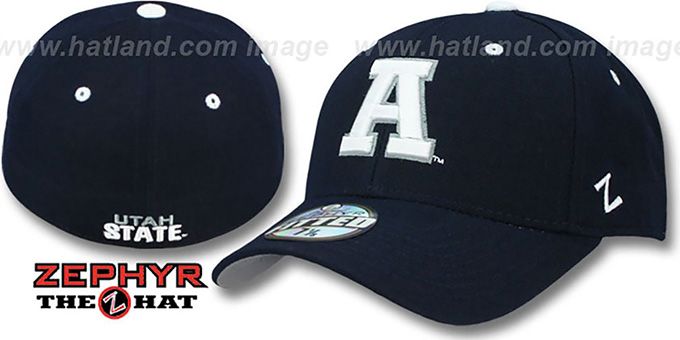 Utah State 'DH' Navy Fitted Hat by Zephyr : pictured without stickers that these products are shipped with