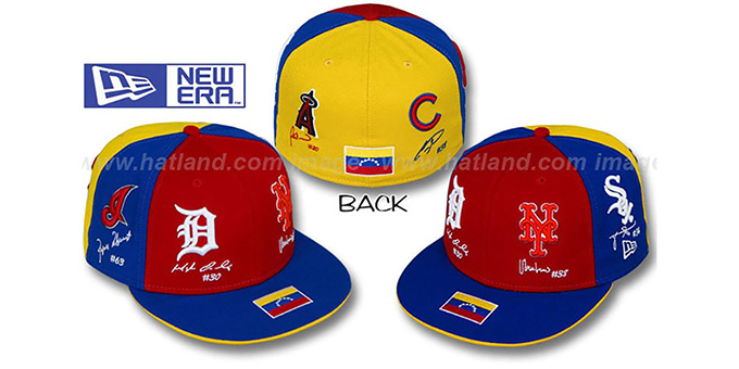 Venezuela 'HERITAGE EVOLUTION' Red-Royal-Gold Fitted Hat by New Era : pictured without stickers that these products are shipped with