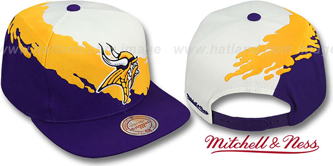 Vikings PAINTBRUSH SNAPBACK White-Gold-Purple Hat by Mitchell &