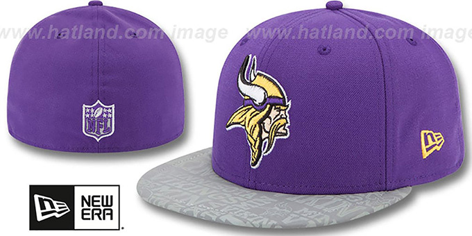 Vikings '2014 NFL DRAFT' Purple Fitted Hat by New Era : pictured without stickers that these products are shipped with