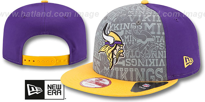 Vikings '2014 NFL DRAFT SNAPBACK' Purple-Gold Hat by New Era : pictured without stickers that these products are shipped with