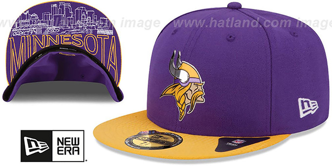 Vikings '2015 NFL DRAFT' Purple-Gold Fitted Hat by New Era : pictured without stickers that these products are shipped with