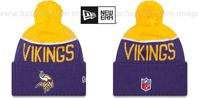 Vikings '2015 STADIUM' Purple-Gold Knit Beanie Hat by New Era : pictured without stickers that these products are shipped with