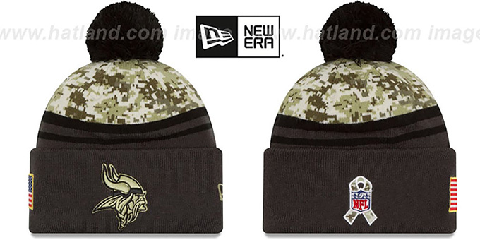 Vikings '2016 SALUTE-TO-SERVICE' Knit Beanie Hat by New Era : pictured without stickers that these products are shipped with