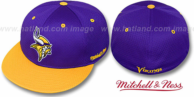 Vikings '2T BP-MESH' Purple-Gold Fitted Hat by Mitchell & Ness : pictured without stickers that these products are shipped with