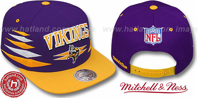Vikings '2T DIAMONDS SNAPBACK' Purple-Gold Adjustable Hat by Mitchell & Ness : pictured without stickers that these products are shipped with