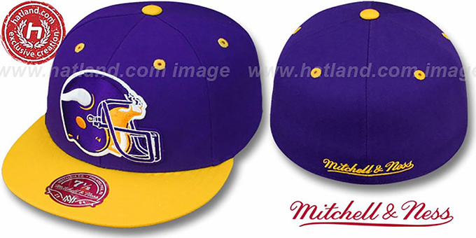 Vikings '2T XL-HELMET' Purple-Gold Fitted Hat by Mitchell & Ness : pictured without stickers that these products are shipped with