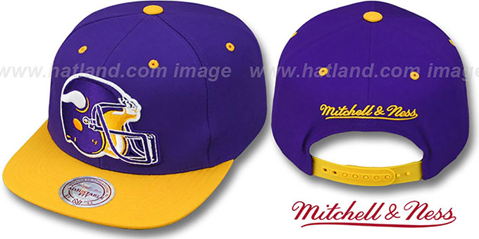 Vikings '2T XL-HELMET SNAPBACK' Purple-Gold Adjustable Hat by Mitchell & Ness : pictured without stickers that these products are shipped with