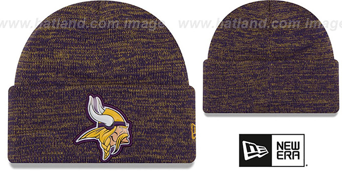 Vikings 'BEVEL' Purple-Gold Knit Beanie Hat by New Era : pictured without stickers that these products are shipped with