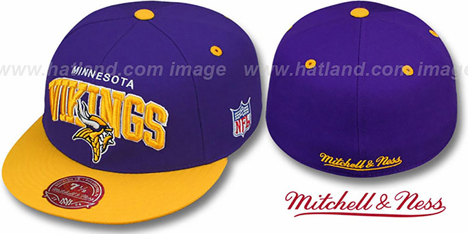 Vikings 'NFL 2T ARCH TEAM-LOGO' Purple-Gold Fitted Hat by Mitchell & Ness : pictured without stickers that these products are shipped with