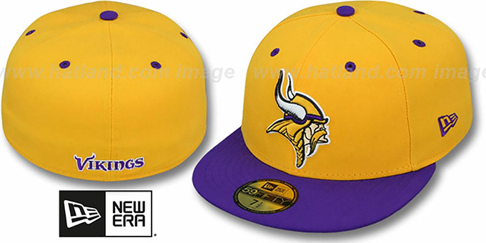 50bf1a8c Minnesota Vikings NFL 2T-TEAM-BASIC Gold-Purple Fitted Hat