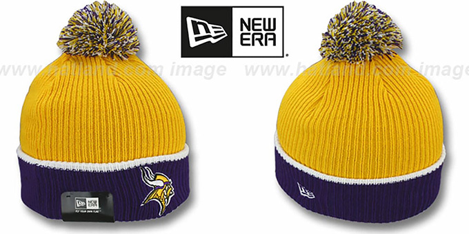 Vikings 'NFL FIRESIDE' Gold-Purple Knit Beanie Hat by New Era : pictured without stickers that these products are shipped with