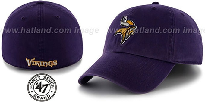 Vikings 'NFL FRANCHISE' Purple Hat by 47 Brand : pictured without stickers that these products are shipped with