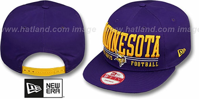 Vikings 'NFL LATERAL SNAPBACK' Purple Hat by New Era : pictured without stickers that these products are shipped with