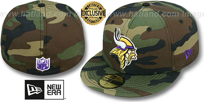 Vikings 'NFL TEAM-BASIC' Army Camo Fitted Hat by New Era : pictured without stickers that these products are shipped with